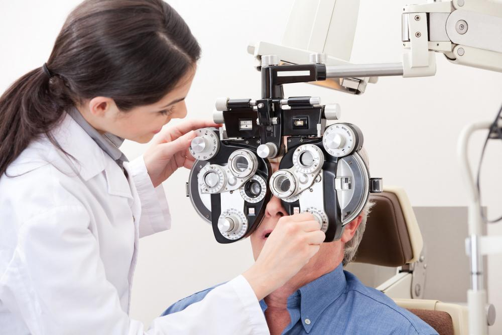 Man receiving an eye exam.
